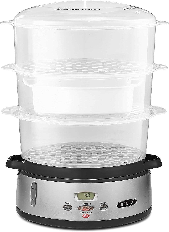 BELLA 17291 9.5QT Triple Tier Digital Food Steamer, 9.5 Quart, Stainless Steel