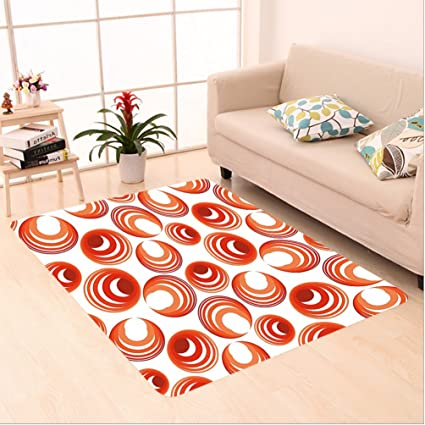 Nalahome Custom Carpet Ract Red And Yellow Circle Shapes Motif Rounded Texture Modern Illustration Print
