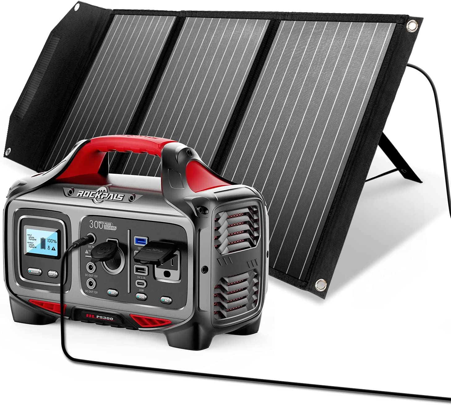 Great Solar Generator for Backup Power Outdoor Adventure and Camping ROCKPALS 300W Portable Power Station and ROCKPALS 100W Upgraded Solar Panel
