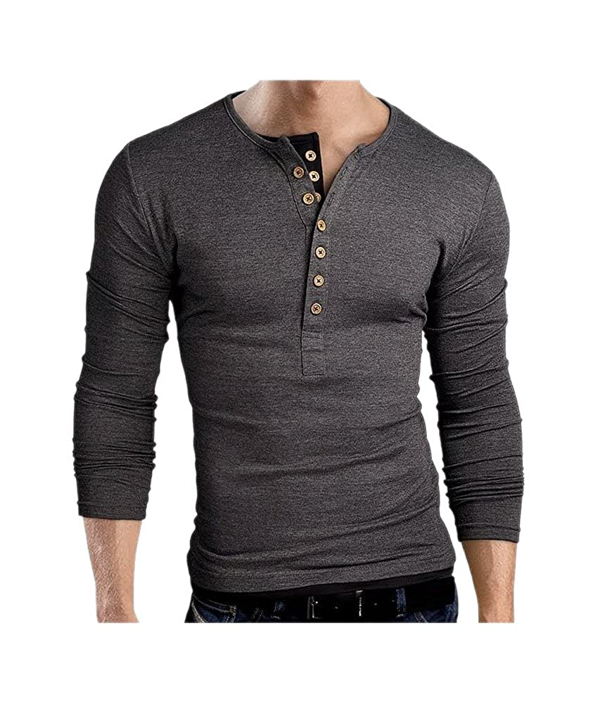 ARJOSA Men Basic Solid Button-Down Slim Fit Long Sleeve T-Shirt Blouse Jumper Top
