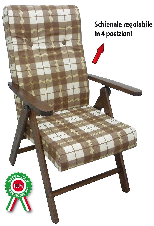 Poltrona divano sedia Molisana in legno di faggio noce marrone cuscino marrone scozzese regolabile in 4 posizioni Savino Filippo