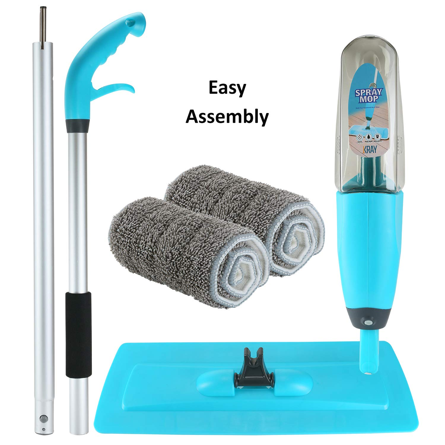 Spray Mop Strongest Heaviest Duty Mop - Best Floor Mop Easy To Use - 360 Spin Non Scratch Microfiber Mop With Integrated Sprayer - Includes Refillable 700ml Bottle & 2 Reusable Microfiber Pads by Kray by Kray (Image #5)