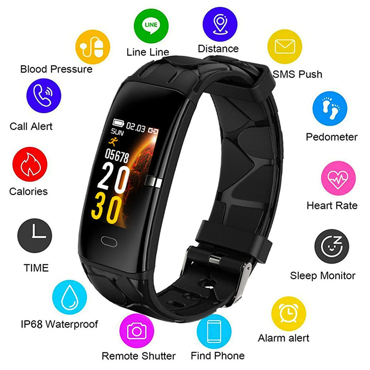 LIGE Fitness Trackers, Waterproof Sport Smartwatch Black Activity Tracker Heart Rate Monitor Pedometer, Outdoor Sports Fitness Watch Smart Bracelet with Step Counter for Men, Women and Kids