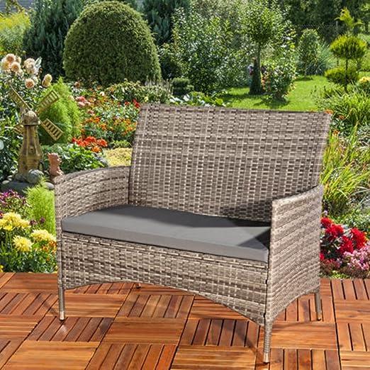 Banco de jardín LD de ratán sintético en gris + asiento acolchado banco de ratán asiento asiento sofá: Amazon.es: Jardín
