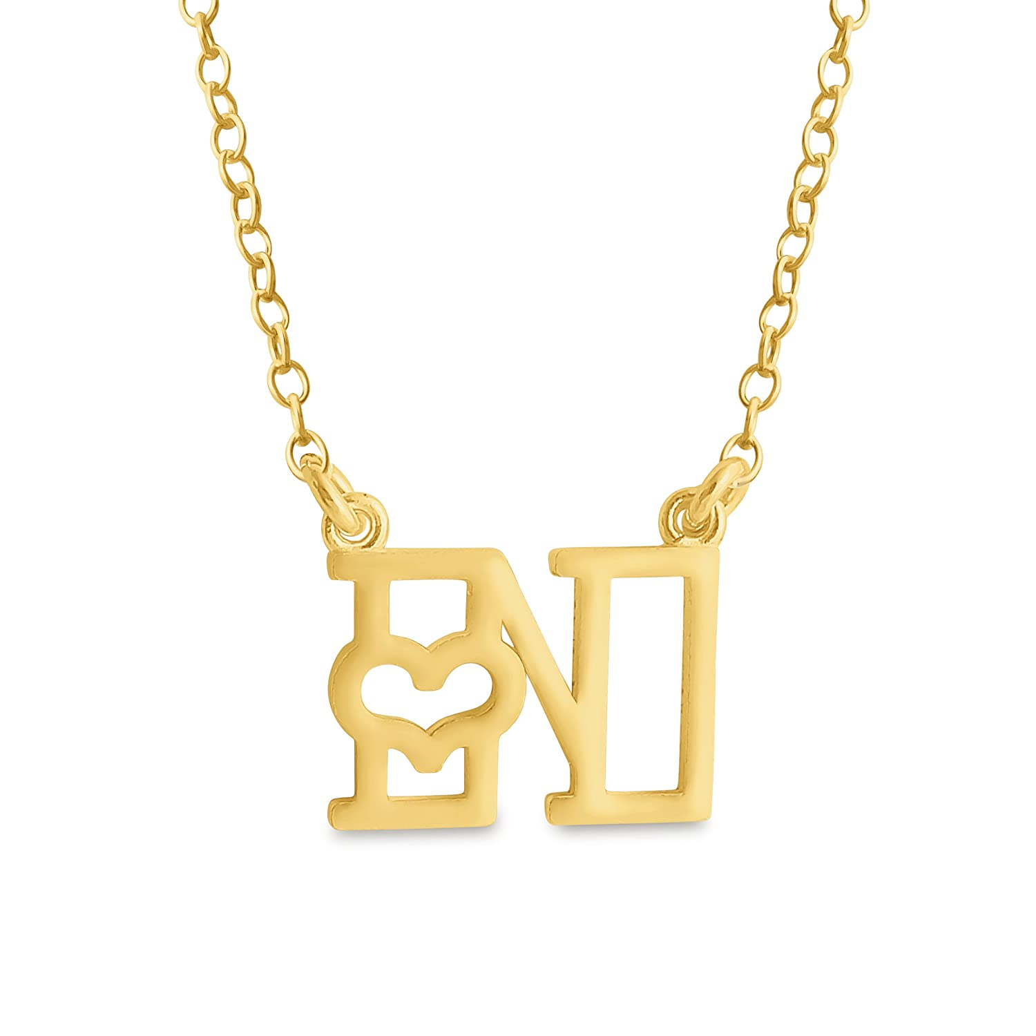 Azaggi Gold Plated Alphabet Initial Pendant Necklace Letter N Pendant Heart Sideways.This Gold Plated Silver Pendant Necklace is the Perfect Personalised Jewelry Gift for Women