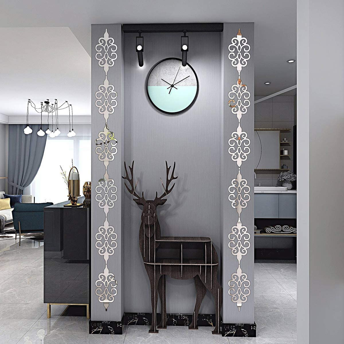 Acrylic Mirror Wall Stickers,Mirror Wall Decals,DIY Hollow Mirror Wall Decor,Self Adhesive Mirrors Stickers for Home Decoration(Silver,10 Pcs )