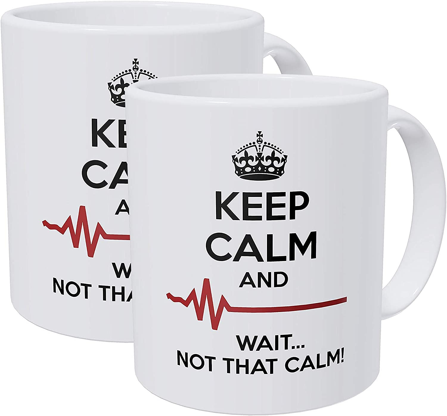 Willcallyou Pack of 2 Doctor, Medicine, Keep Calm and Wait Not That Calm 11 Ounces Funny White Coffee Mug