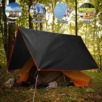 GEERTOP Tapis de Sol B/âche de Tente Tarp Imperm/éable L/éger Portable Polyester pour Camping Randonn/ée Pique-Nique 90//140 // 180//260 x 210 cm