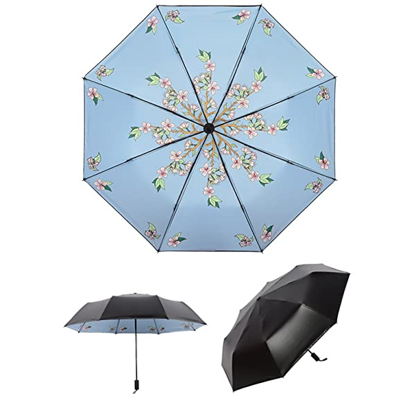 Amazon.com: Umbrella Rain Women Uv Umbrella Car For Womens Windproof Folding Umbrellas YS036 Black: Sports & Outdoors