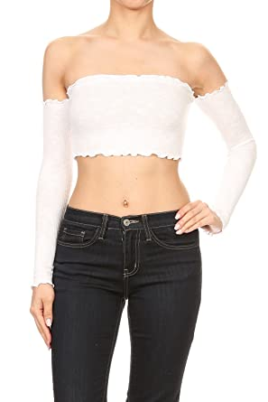 2e133196055a34 The Classic Women s Sexy Strapless Off Shoulder Ribbed Bandeau Bra Tube  Crop Top - White Small