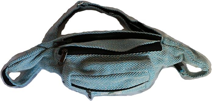color azul claro Ri/ñonera de c/á/ñamo bolsa de viaje de c/á/ñamo senderismo viajes HIMALAYAN para deportes hecha a mano en Nepal festivales fabricada en Nepal