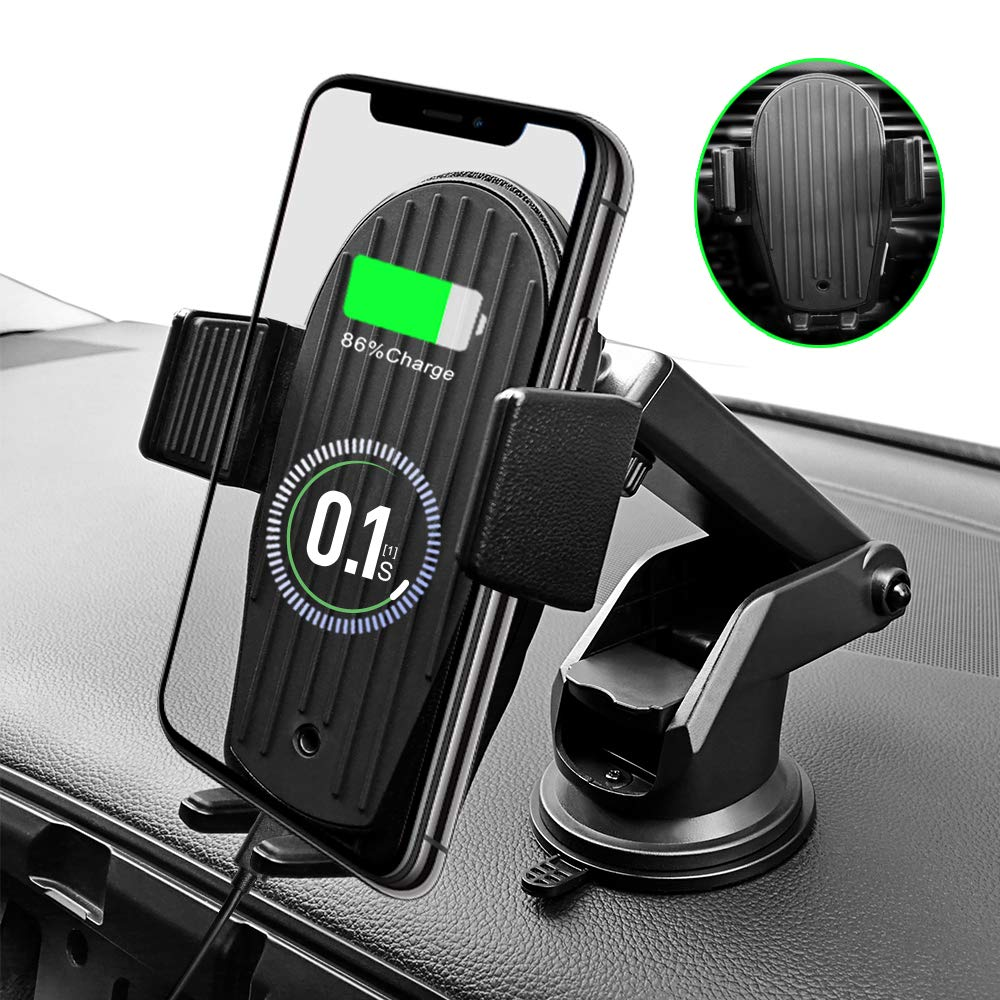 Wireless Car Charger Mount, Auto Clamping 7.5W /10W Fast Charging Qi Car Phone Holder Air Vent Dash Board Windshield Compatible iPhone X/Xs/Xs Max/XR/8/8 Plus, Samsung Galaxy S10 /S10+/S9/S9+/S8 /S8+