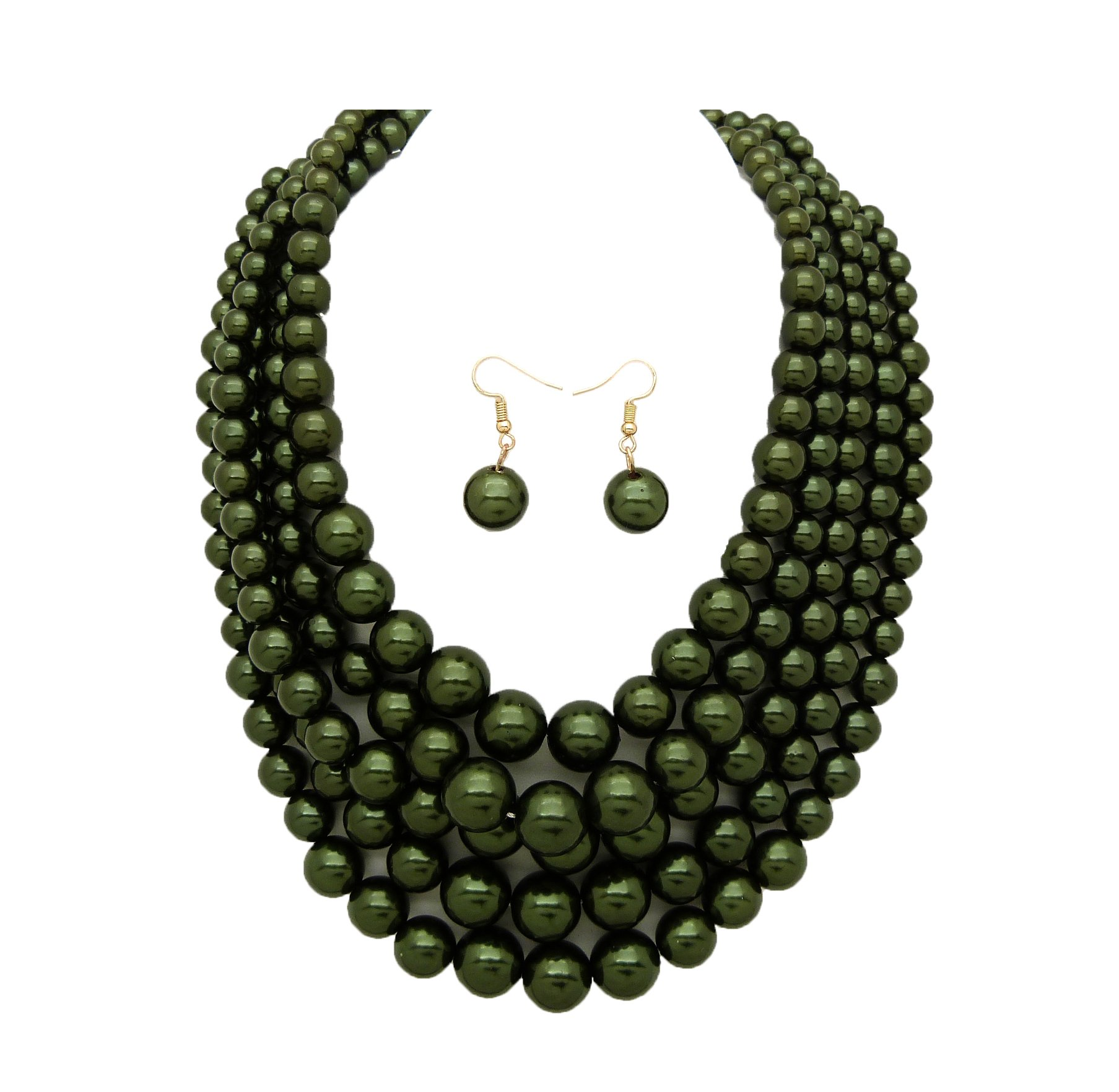 Women's Simulated Faux Pearl Five Multi-Strand Statement Necklace and Earrings Set (Dark Olive Green)