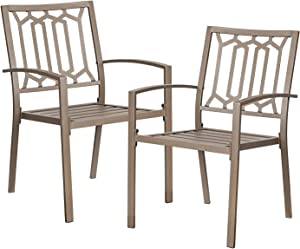 Outdoor Dining Chairs Metal Patio Bistro Stackable Chairs Set of 2 for Garden Backyard Lawn Deck
