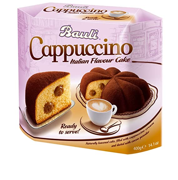 Crédito antes de la fecha Cake Bauli Italian Cappuccino con leche y chocolate relleno de crema