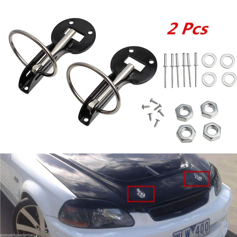 AUTOUTLET Universal Car Flush Hood Mount Bonnet Latch Catch Pin Key Locking Kit Black