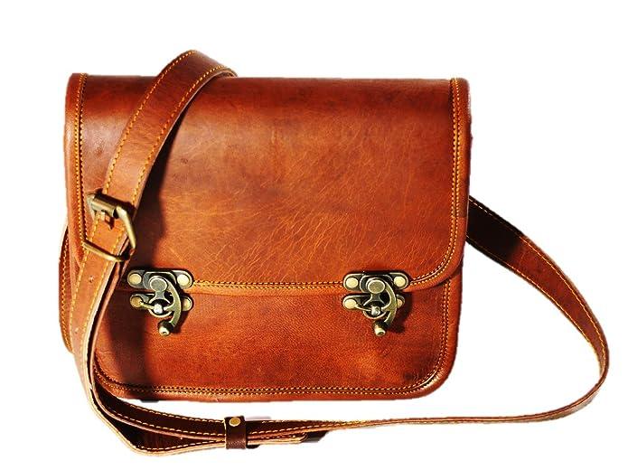 1920s Style Purses, Flapper Bags, Handbags Women Vintage Style Genuine Brown Leather Cross body Shoulder Bag Handmade Purse $36.99 AT vintagedancer.com