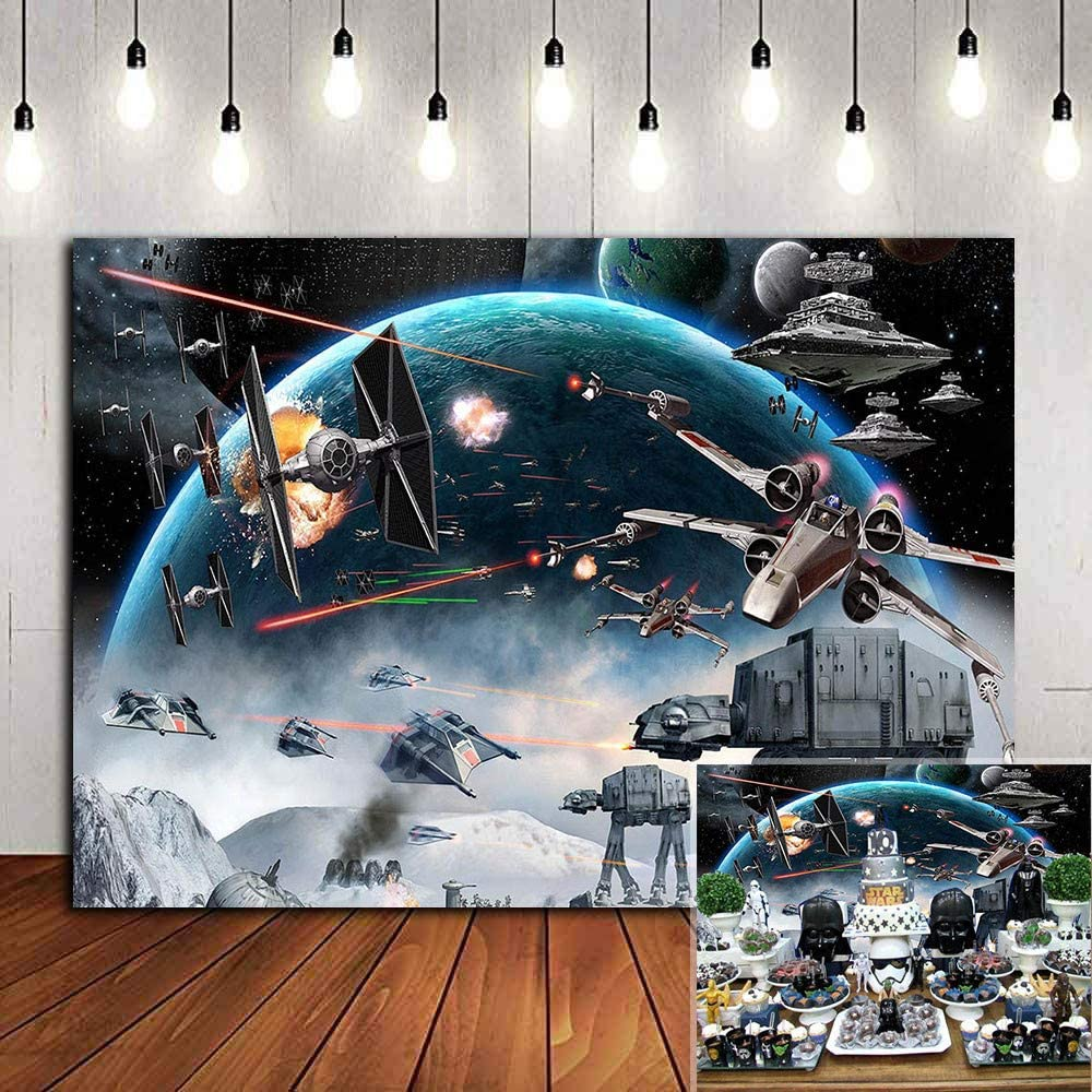 Universe Wars Science Fiction Photography Backdrop Vinyl 7x5ft Black Star Galaxy Photo Background Children Boys Birthday Party Decorations Baby Shower Supplies Photo Booths Studio Props Banner