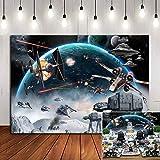 Universe Wars Science Fiction Photography Backdrop Vinyl 7x5ft Black Star Galaxy Photo Background Children Boys Birthday Part