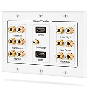 Fosmon HD8005 [3-Gang 6.1 Surround Distribution] Home Theater Copper Banana Binding Post Coupler Type Wall Plate for 6 Speakers, 1 RCA Jack for Subwoofer & 2 HDMI Ports