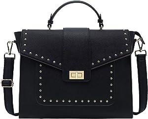 15.6 Inch Laptop Briefcase for Women,Classic Black Work Bag Laptop Messenger Bag Satchel Computer Bags,Perfect for Work Business Travel School,Black
