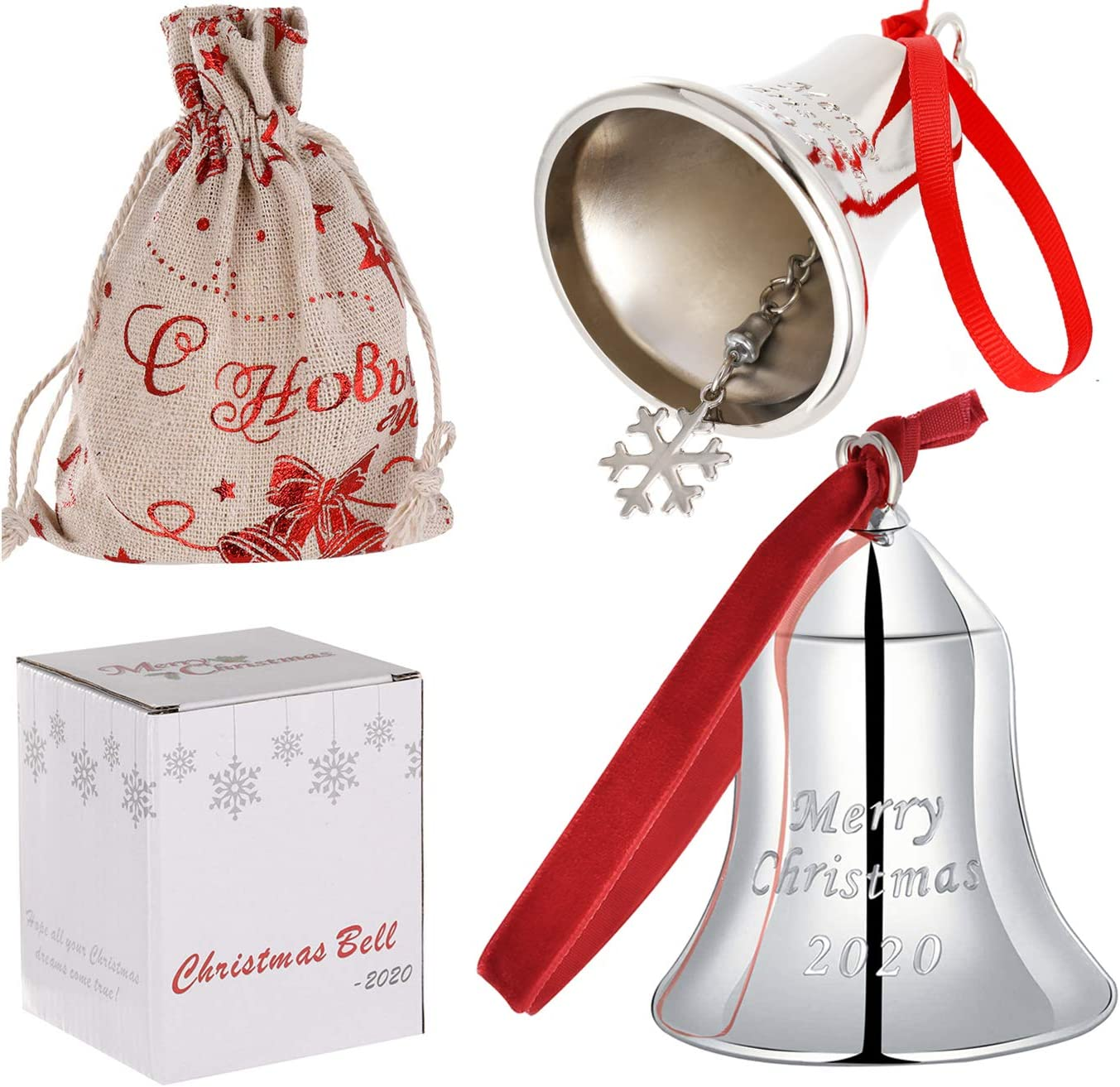 Silver Christmas Bell Ornaments Jingle Bells Pendants,Merry Christmas 2020 Holiday Bells with Gift Box and Red Ribbon Hanging on Christmas Tree Door Wedding Anniversary Decor (Silver Bell)