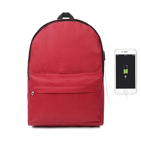 Oflamn Mochila para Ordenador portátil con Puerto de Carga USB College Bookbag Vintage Unisex Mochila Casual