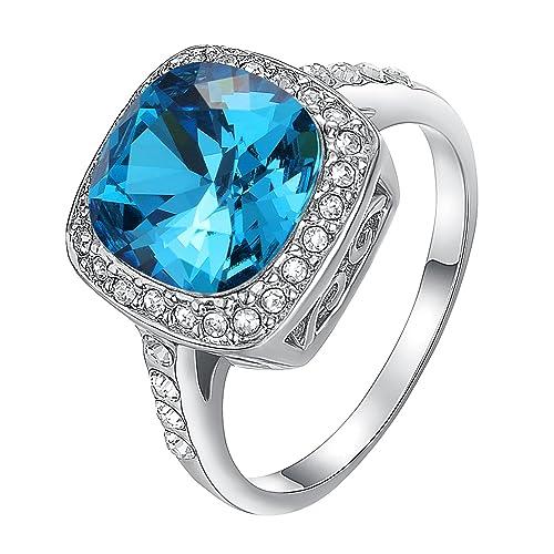 Anillos cuadrados de Yoursfs para hombre anillo de compromiso con zafiro azul brillante claro mar azul
