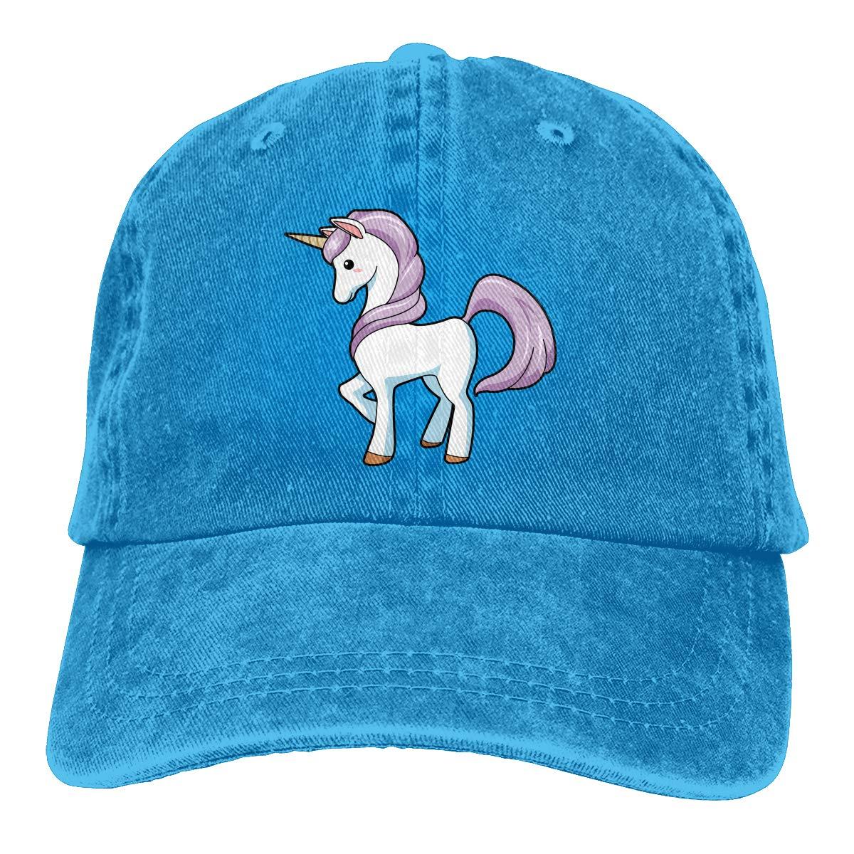 Cartoon Unicorn Fashion Unisex Washed Cap Adjustable Dads Denim Stetson Hat