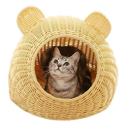 Rattan kennel villa cat litera verano fresco nido de perro ratán nido de bambú casa de