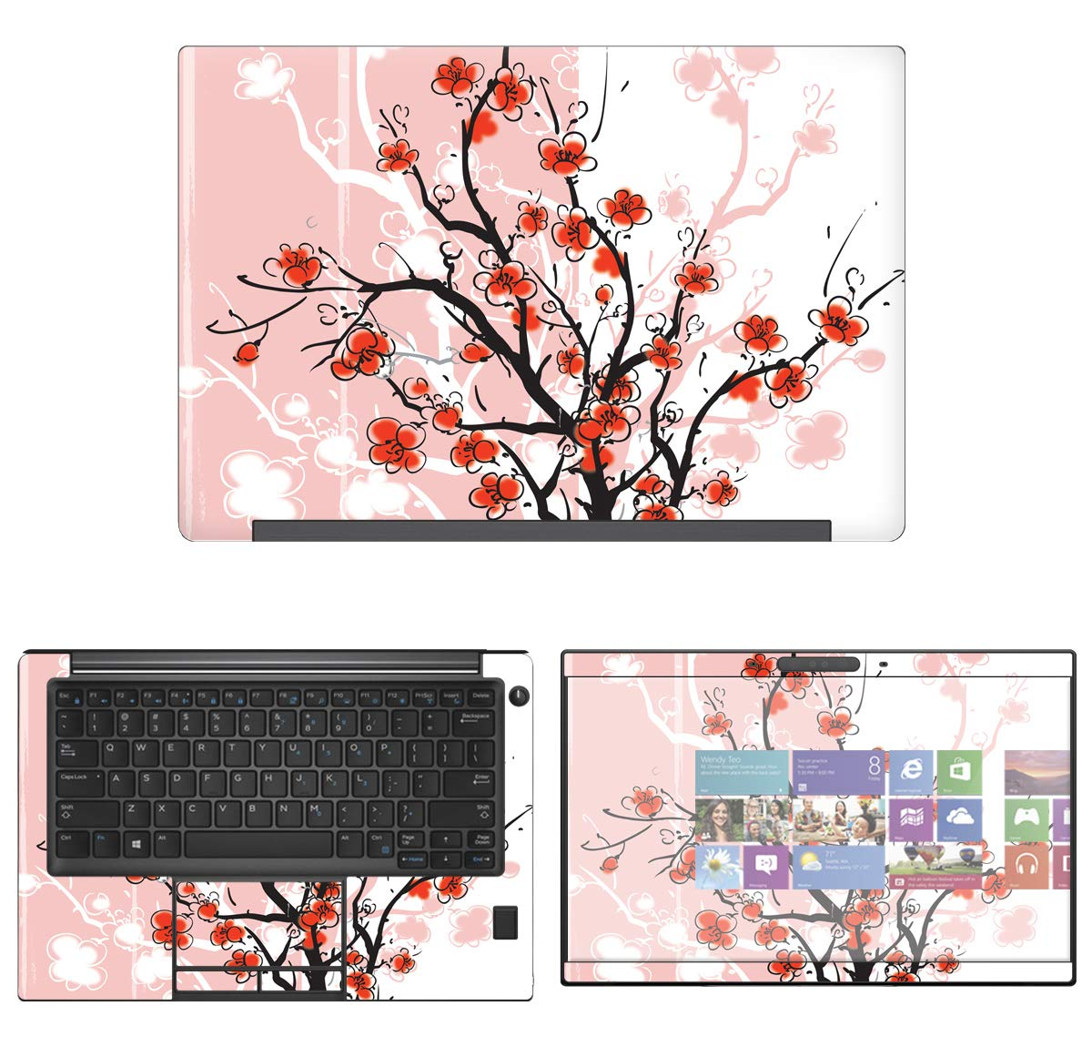 decalrus - Protective Decal Cherry Blossom Skin Sticker for Dell Latitude 13 7390 (13.3'' Screen) case Cover wrap DElatitude13_7390-85