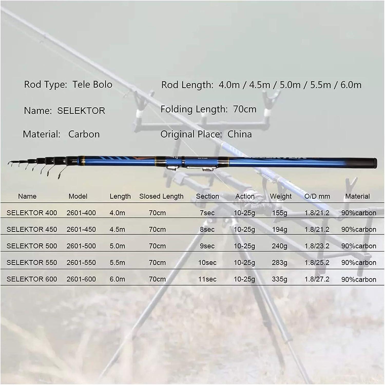 6M HIGH Carbon Trout Travel Light Spinning Float Angeln 10-25G 5.5 Length : 4.0M Teleskopruten Rod Angel Teleskop Bolognese Angeln 4//4,5//5