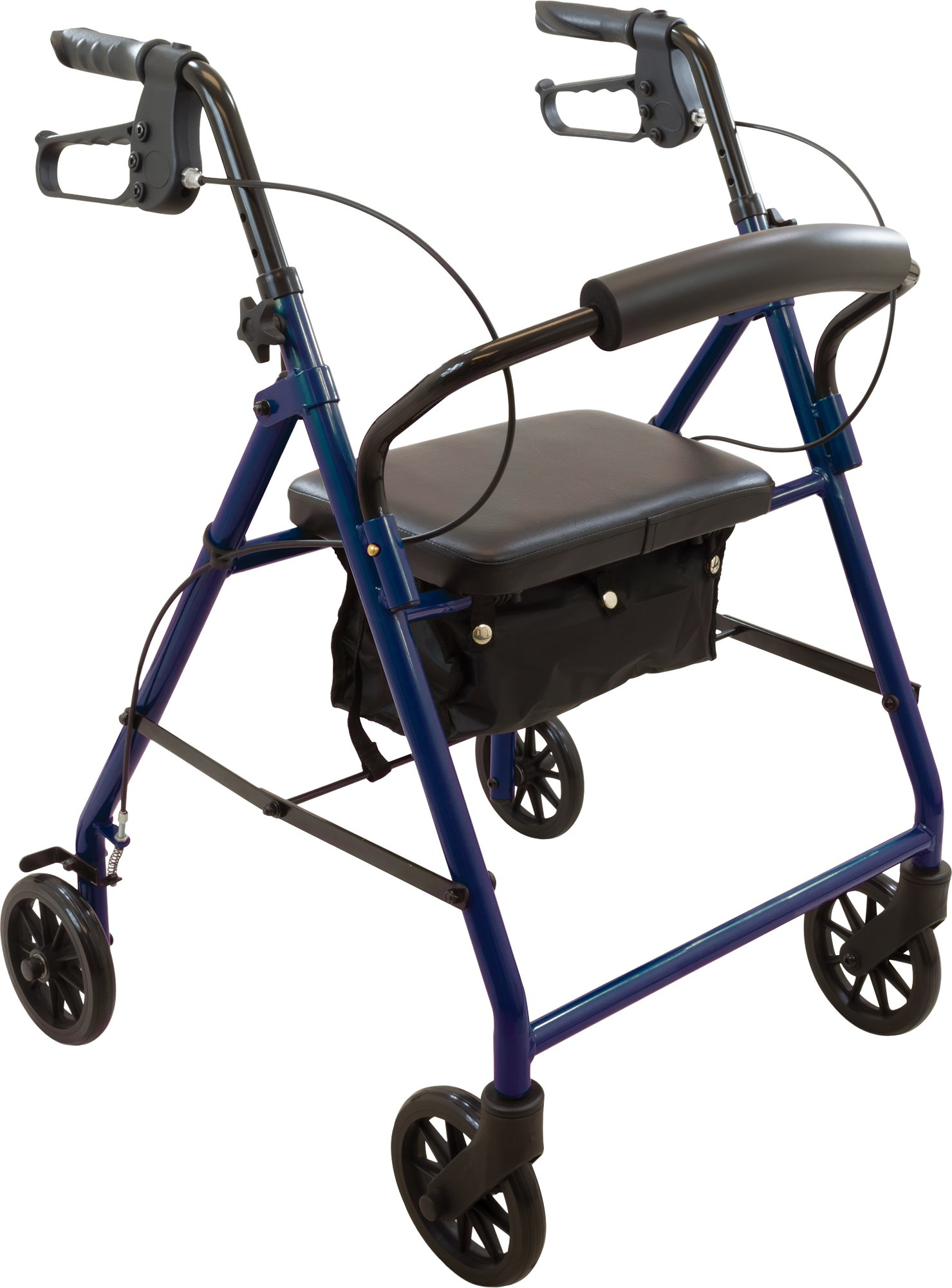 ProBasics Steel Rollator with 6-inch Wheels, Padded Seat and Backrest, Height Adjustable Handles, Folds for Storage & Transport, 300 Pound Weight Capacity, Blue