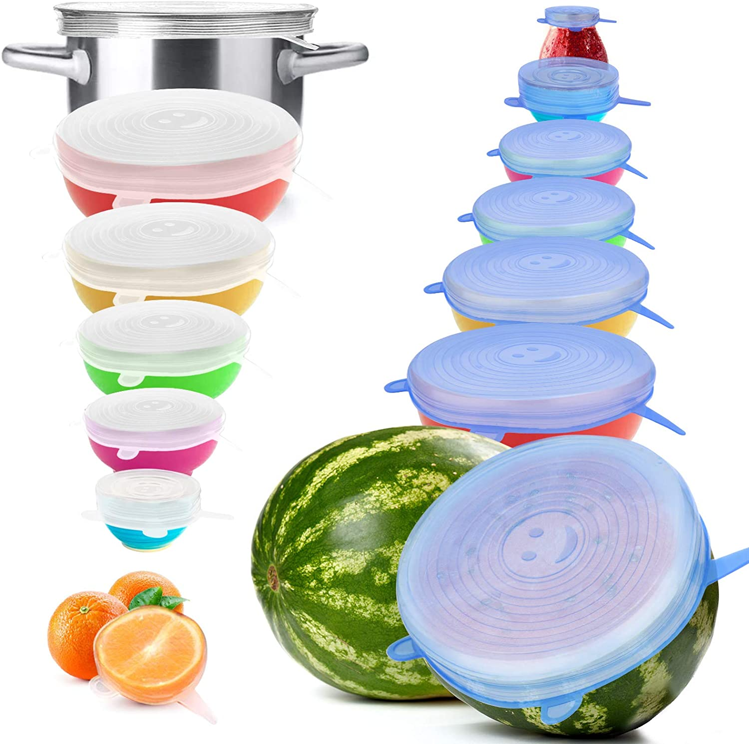 YXYL 14PCS Reusable Silicone Stretch Lids, Premium Stretch Silicone Lids for Food Storage, Flexible Round Silicone Bowl Covers, 7 Different Sizes Reusable Stretch and Seal Lids - Keep Food Fresh