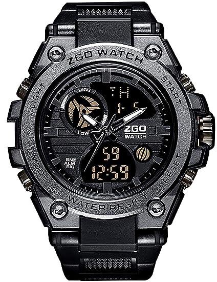 ... para Hombre Cronógrafo Alarma Día Fecha Calendario LED Tendencia Casual Diseño Resistente Analógico Relojes Digitales para Hombres: Amazon.es: Relojes