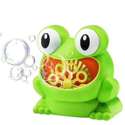 Pompas de Jabón Automáticamente - Maquina de Burbujas Rana para bebé Niños como Regalo de Cumpleaños