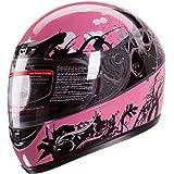 Gloss Pink Japanese Style Motorcycle Street Bike Full Face Helmet DOT (S)