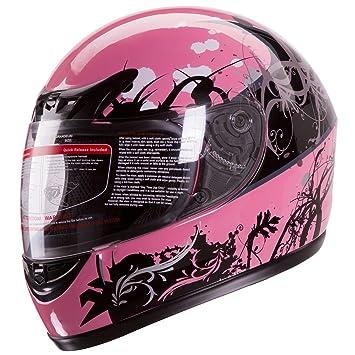 Brillante color rosa estilo japonés de motos Calle bicicleta Full Face casco, diseño de lunares
