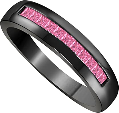 DS Jewels Channel Set Band Ring for Men Womens 14K Rose Gold Plated in Alloy 0.50ct Princess Cut CZ Black Sapphire Unisex Wedding Band Rings