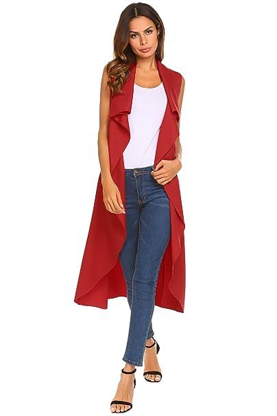 Amazon.com: yitrend sin mangas para mujer frontal abierto ...