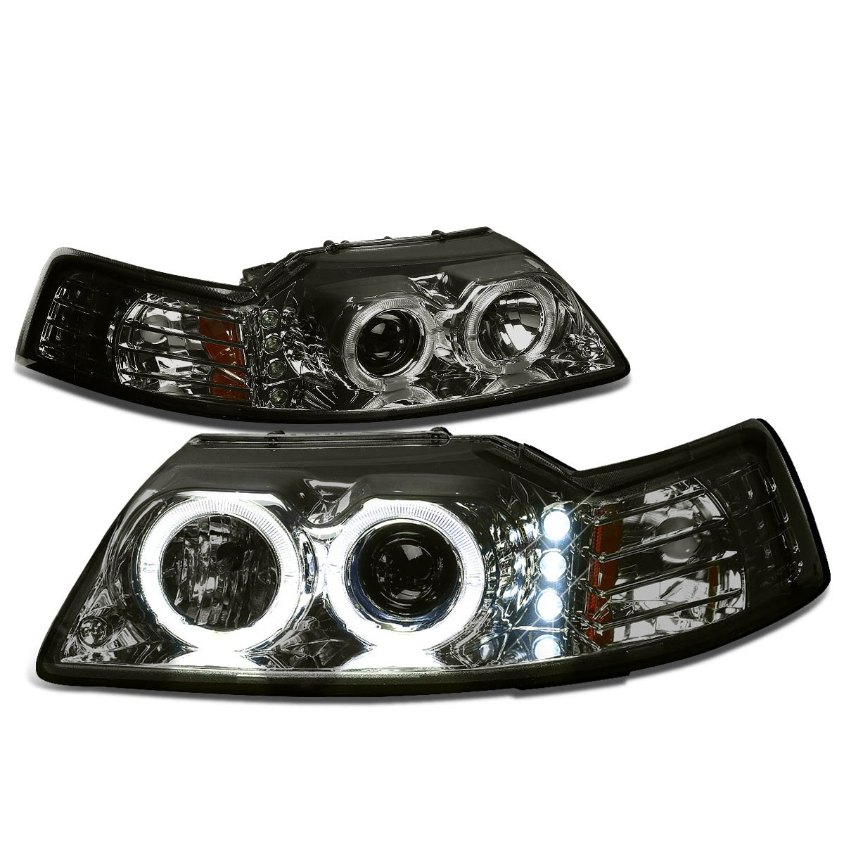 For Ford Mustang Smoked Lens Amber Corner Sn 95 Dual Jeep Headlight Wiring Halo Projector Led Automotive
