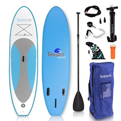 SereneLife Inflatable Stand Up Paddle Board (6 Inches Thick) with Premium SUP Accessories &