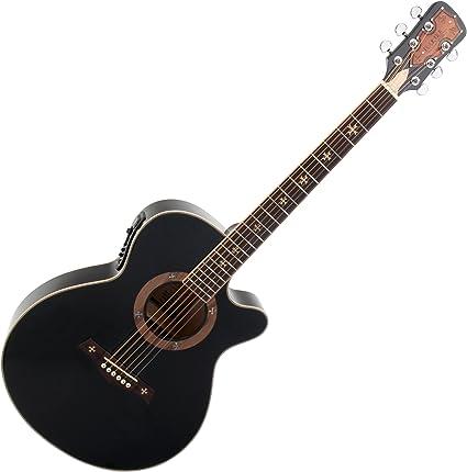 Rocktile Empire - Guitarra acústica con pastilla, color negro ...