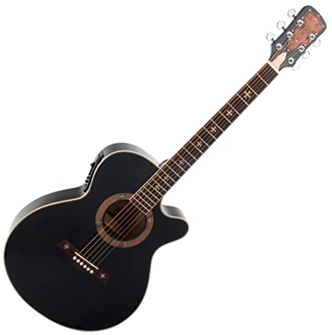 Rocktile Empire - Guitarra acústica con pastilla, color negro