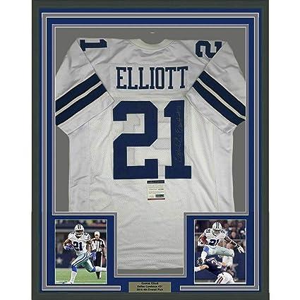 best service b2ea0 bf4ea Autographed Ezekiel Elliott Jersey - FRAMED 33x42 White COA ...