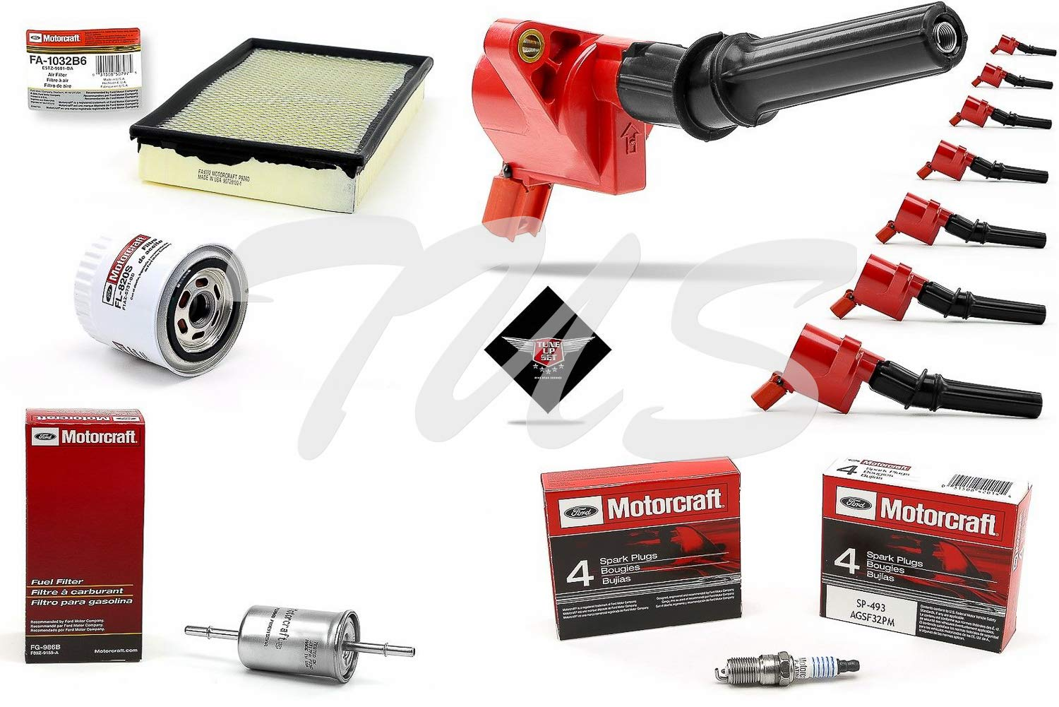 Tune Up Kit 2004 Mercury Grand Marquis 4.6L V8 High performance Ignition Coil DG508 Spark Plug SP493 FA1032 by Aftermarket High Performance Ignition Coil , Motorcraft Spark Plug & Filters