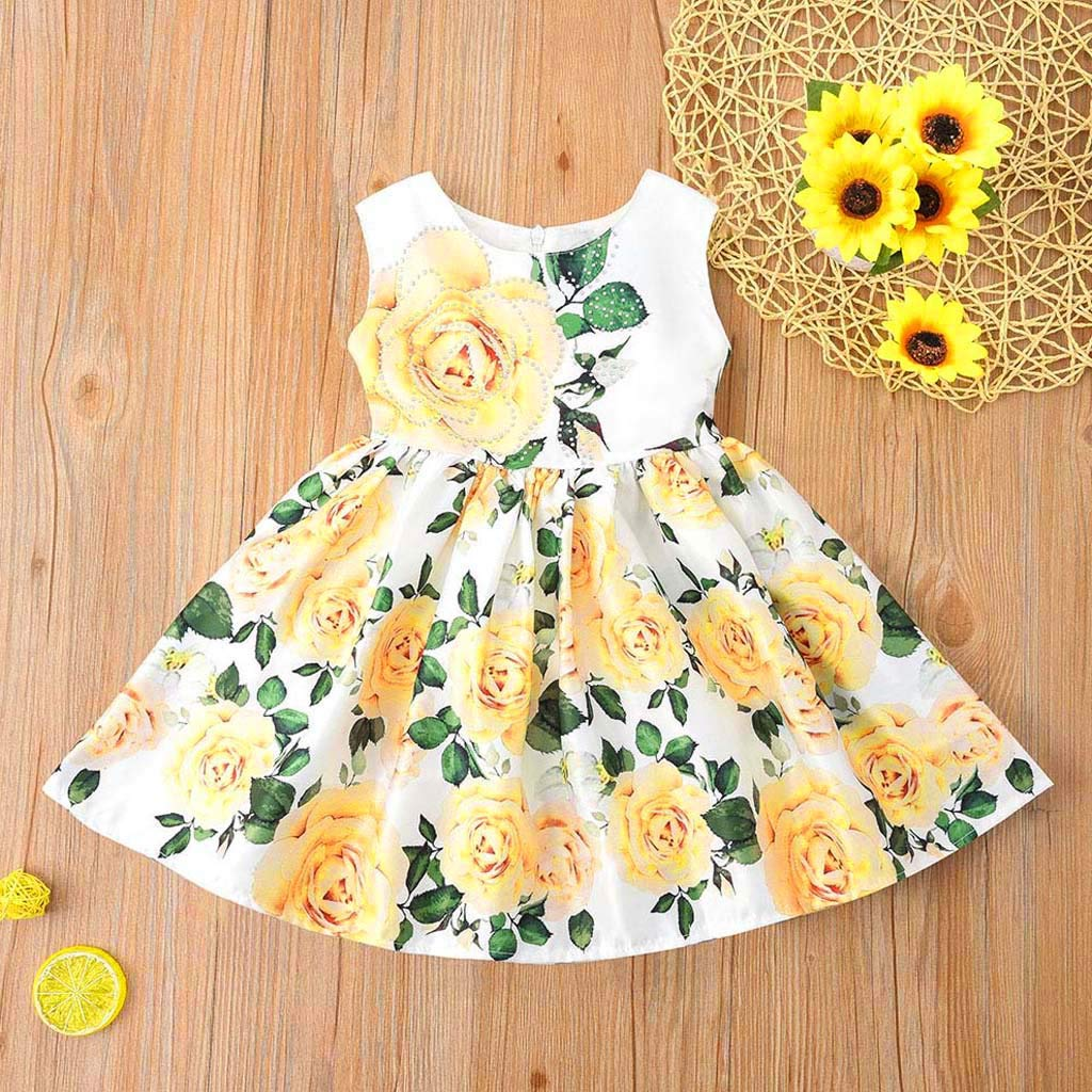 Hstore❀Toddler Newborn Baby Girls Princess Print Tutu Dress Outfits Set Sundress Clothes Yellow