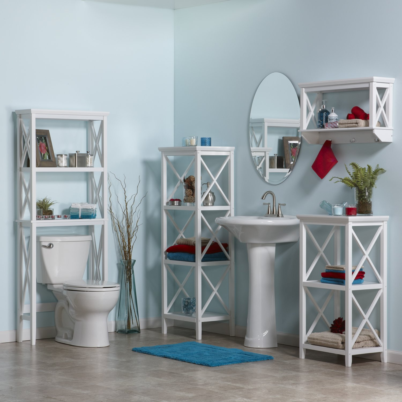 Amazon.com: RiverRidge Home X-Frame Bathroom Wall Shelf - White ...