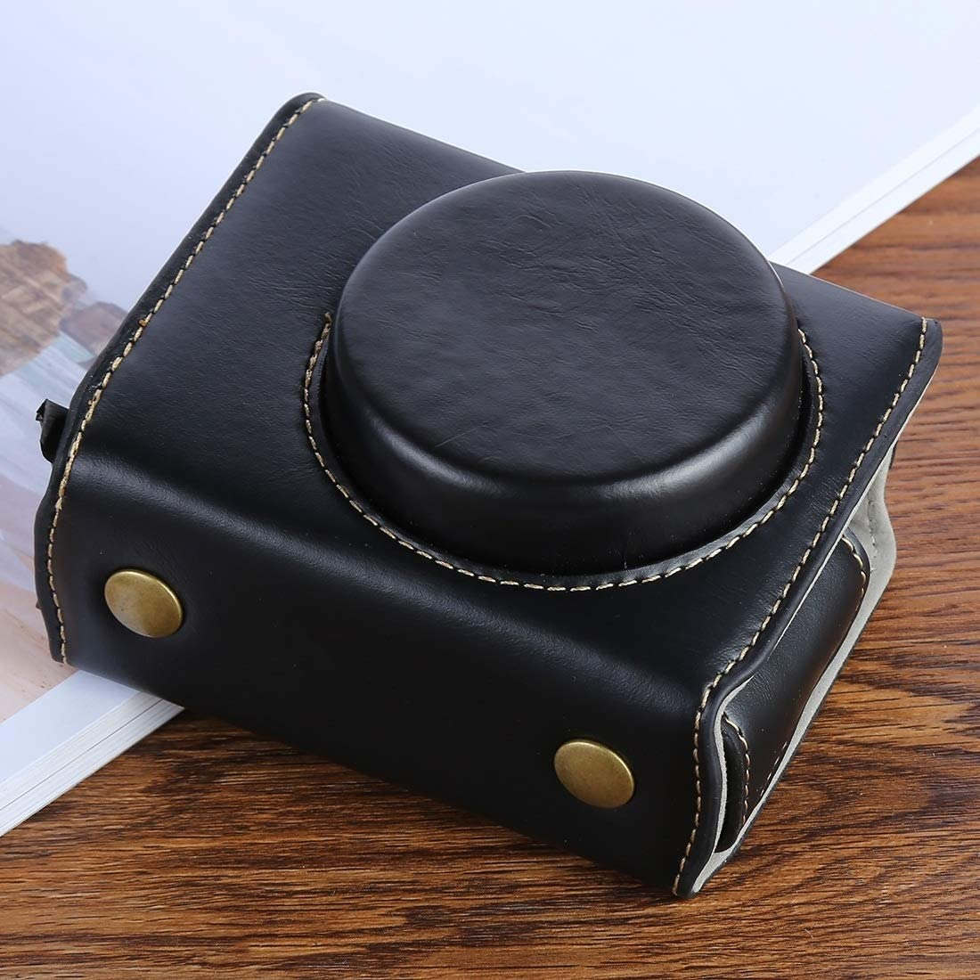Color : Brown G7XII PU Leather Camera Protective Bag for Canon Powershot G7X Mark 2 G7XII Digital Camera Ychaoya Camera Bag Wuzpx with Strap Black