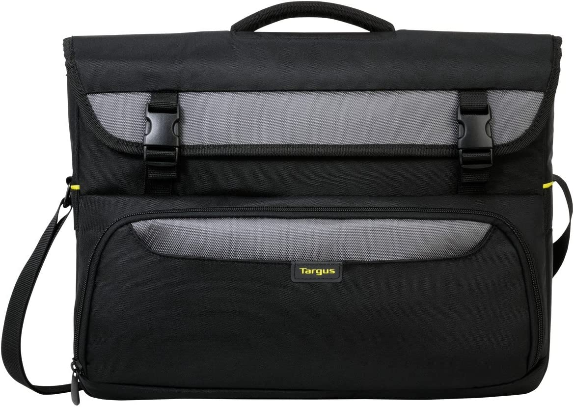 Targus CityGear II Hybrid Messenger Bag for Business Casual Commuter with Expendable Soft Compartments, Buckled Pocket Briefcase, Trolley Strap, DOME Protection fits up to 17-Inch Laptop, Black (TCG270)